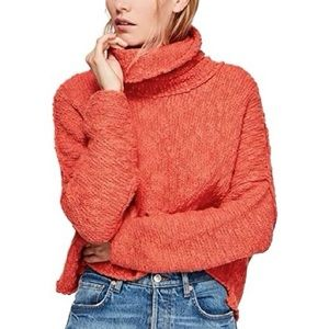 Free People Women's Big Easy Cowl Neck Long Sleeves Pullover Sweater in Coral
